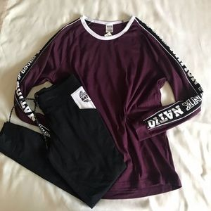 VS PINK burgundy and black outfits size M